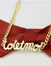 Fashion Gilded Alphabet Gold-plated Copper And Diamond Pendant Necklace