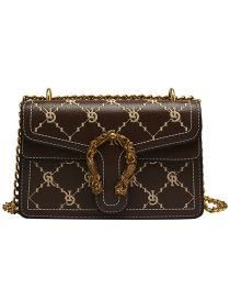 Fashion Coffee Color Chain Embroidered Bacchus Crossbody Shoulder Bag