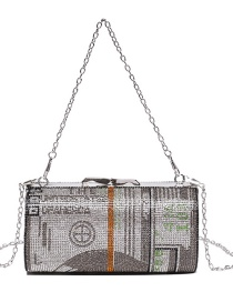 Fashion Silver Color Diagonal Shoulder Bag With Diamond-studded Metal Chain Clip