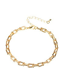 Fashion D Bracelet U-shaped Chain Smooth Thick Chain Copper Plating Necklace Bracelet Earring Set