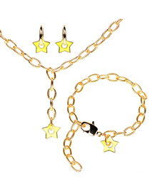 Fashion Yellow Suit Thick Chain Drop Oil Five-pointed Star Earrings Necklace Bracelet Set
