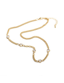 Fashion +a Type Necklace Copper Gold-plated Diamond Thick Chain Necklace