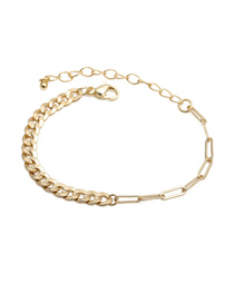 Fashion 17cm Bracelet (5cm Tail Chain) B Copper Gold-plated Thick Chain Hollow Necklace Bracelet