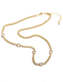 Fashion Love Micro-inlaid Zircon Copper Gold-plated Love Necklace