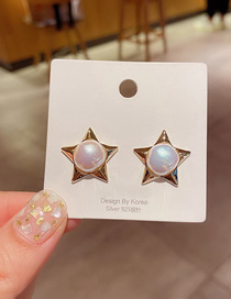 Fashion Gold Color Pearl Five-pointed Star Gold-plated Copper Earrings