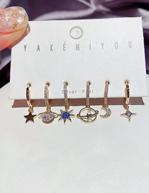Fashion Gold Color Micro-inlaid Zircon Universe Star And Moon Geometric Earrings Set