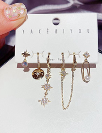Fashion Gold Color Micro-inlaid Zircon And Star Geometric Earrings Set