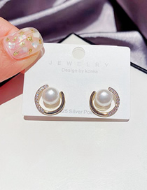 Fashion 14k Real Gold Plated Micro-set Zircon Circle Pearl Gold-plated Copper Earrings