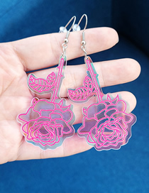 Fashion Pink Acrylic Laser Rose Earrings