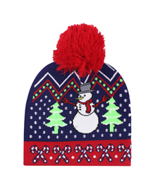 Fashion Christmas Cane Christmas Snowman Elk Knitted Jacquard Hat With Ball