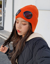 Fashion Orange Glasses Ear Protection Knitted Woolen Cap