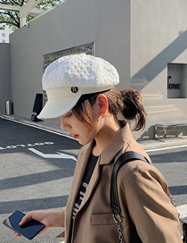 Fashion White Stitching Contrast Letters Octagonal Beret