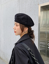Fashion Black Corduroy Solid Color Stitching Beret