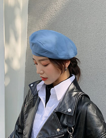 Fashion Blue Solid Color Stitching Beret