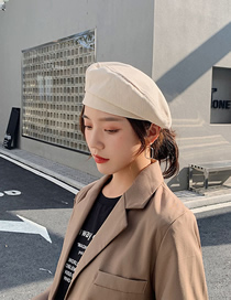 Fashion Apricot Solid Color Stitching Beret