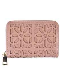 Fashion Pink Hollow Flower Multi-layer Card Holder