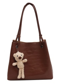 Fashion Brown Stone Pattern Solid Color Picture-in-picture Shoulder Bag