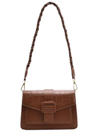 Fashion Brown Stone Pattern Flap One Shoulder Underarm Bag