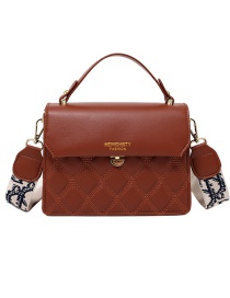 Fashion Brown Stitched Gilded Letters And Diamond Crossbody Shoulder Bag