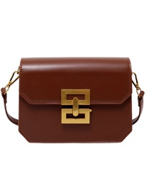 Fashion Brown Solid Color Single Shoulder Crossbody Bag With Lock Flap