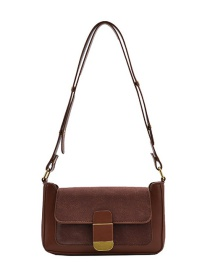 Fashion Brown Frosted Stitching Lock One-shoulder Armpit Bag