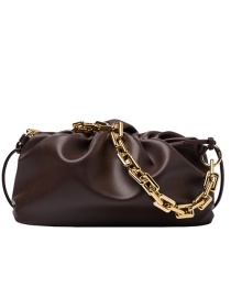 Fashion Coffee Color Chain Pleated Shoulder Messenger Bag