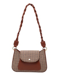Fashion Brown Houndstooth Stitching Edging One-shoulder Armpit Bag