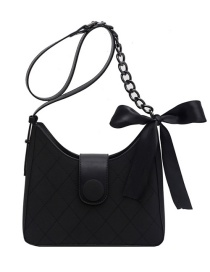 Fashion Black Silk Scarf Winding Chain Lacquered Edge One-shoulder Messenger Bag