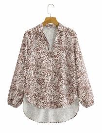 Fashion Printing V-neck Printed Long-sleeved Irregular Shirt