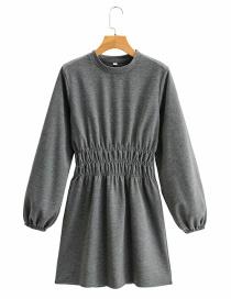 Fashion Dark Gray Round Neck Long Sleeve Waist Dress