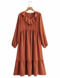 Fashion Dirty Orange V-neck Long Sleeve Stitching Dress With Wood Ears