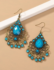 Fashion Blue Diamond Zircon Geometric Hollow Alloy Earrings