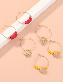 Fashion Gold Color Leaf Rice Bead Hollow Alloy Geometry Set Earrings