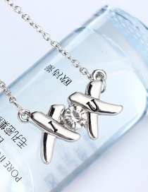 Fashion Silver Color Alloy Necklace With Diamond Letters
