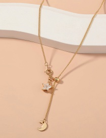 Fashion Gold Color Star And Moon Diamond Pendant Alloy Necklace