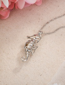 Fashion Silver Color Seahorse Pendant Pearl Hollow Necklace