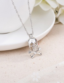 Fashion Silver Color Skull Head Natural Pearl Alloy Hollow Necklace