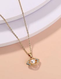 Fashion Gold Color Diamond Eye Pearl Alloy Necklace