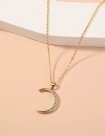 Fashion Gold Color Diamond Moon Alloy Pendant Necklace
