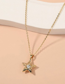 Fashion Gold Color Five-pointed Star Pendant Alloy Necklace With Diamonds