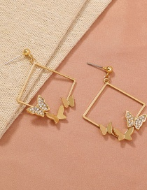 Fashion Gold Color Geometric Diamond Three-dimensional Butterfly Earrings