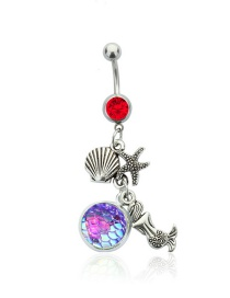 Fashion Big Red Diamond + Light Purple Yulin Stainless Steel Diamond-studded Starfish Geometric Alloy Belly Button Nail