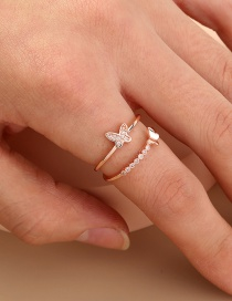 Fashion Rose Gold Butterfly Three-dimensional Diamond Open Ring
