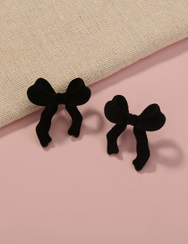 Fashion Black Suede Velvet Bow Earrings