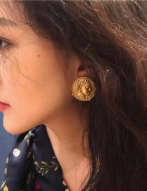 Fashion Gold Color Coin Portrait Embossed Alloy Earrings
