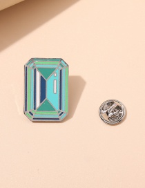 Fashion Blue Square Alloy Dripping Geometric Brooch