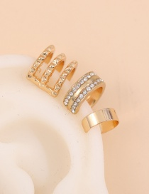 Fashion Suit Alloy Diamond Hollow Geometric Shape Ear Clamp Set