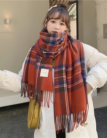 Fashion Red Double-sided Thick Plaid Fringed Knitted Scarf