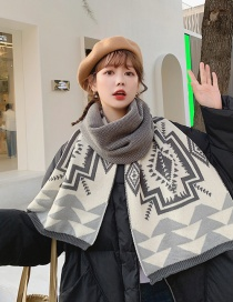 Fashion Gray Reversible Cashmere Geometric Contrast Scarf