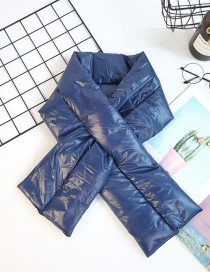 Fashion Blue Cross Thick Solid Color Down Scarf